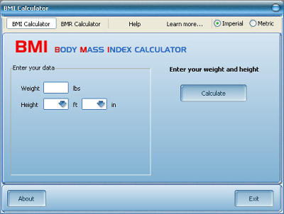 BMI Calculator is free program to find out your Body Mass Index and BMR.